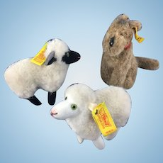 Adorable Steiff Miniature Terrier and Sheep * Lot of 3