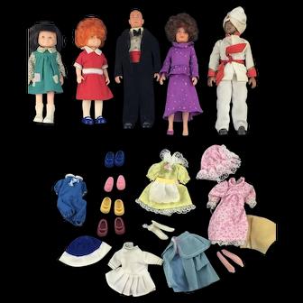 Vintage Annie Doll Set * Knickerbocker World of Annie * Lot of 5 Dolls