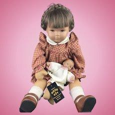 Vintage 1980's Switzerland Heidi Ott Artist Doll Lucie and Baby