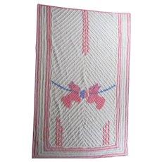 Heirloom Vintage Cream, Pink & Blue TERRIER Baby CHENILLE * Throw * Bedspread