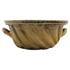 Vintage 2 Handled Art Pottery Clay Cake Mold * Bundt * Swirl Motif