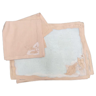 Organdy Pale Beige Embroidered & Applique Placemat and Napkin Set for 8