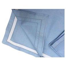 Pale Blue & White Fine Linen Placemats & Napkin Set * Pristine