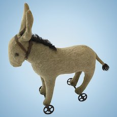 Early Steiff Donkey on Wheels with button
