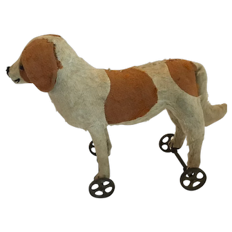 Early Steiff St. Bernard on Wheels