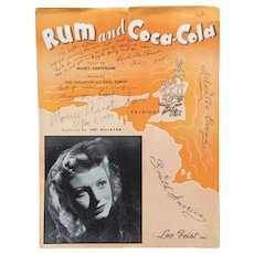 """Rum and Coca Cola"" Signed Sheet Music"