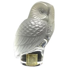 """Lalique Owl Paperweight """"Chouette"""""""