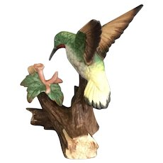 Lefton Handpainted Bisque Ruby-throated Hummingbird Figurine