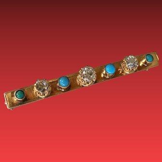 An 18KYG Turquoise and Diamond Bar Brooch