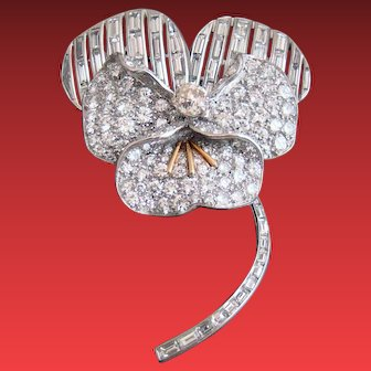 A Platinum and 18K Yellow Gold Pansy Flower Diamond Brooch