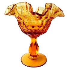 Fenton Amber Thumbprint Pedestal Candy Dish