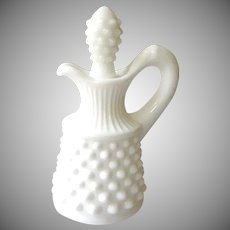 Fenton Hobnail Milk White Small Cruet & Stopper