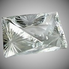 "Triangular Faceted Finely Cut Crystal Ashtray 6"" Premium Quality Unbranded"