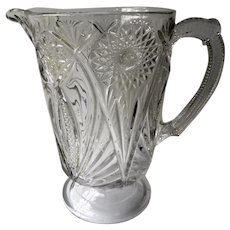 EAPG McKee Glass Clear Jubilee Pattern Glass Pitcher 1850-1899