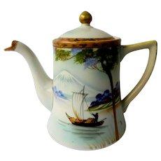 Nippon Vintage Lidded Hand Painted Tea Pot Homeland Scene 1900-1940