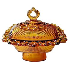 Indiana Glass Amber Lace Edge Footed Candy Box