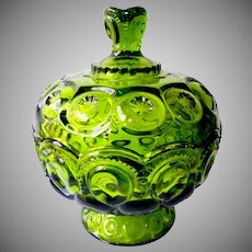 Smith Glass Moon & Stars Green Covered Candy Dish Bowl