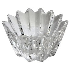 """Orrefors Fleur Crystal 4"""" Wide Bowl Signed"""
