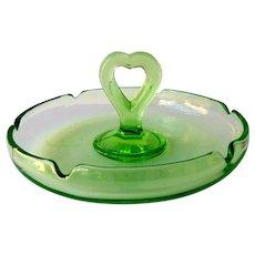 L.E. Smith Original #81 Vaseline Glass 1920's Ashtray Green