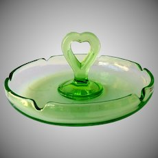 L.E. Smith Original #81 Vaseline Glass 1920's Ashtray Green
