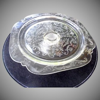 Federal Glass Madrid Pattern Clear Pedestal Cake Stand