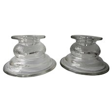 Set of 2 Federal Glass Madrid Pattern Clear Single Light Candle Holders