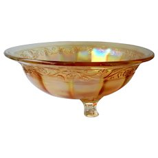 Imperial Glass of Ohio Floral & Optic Marigold Bowl c 1924