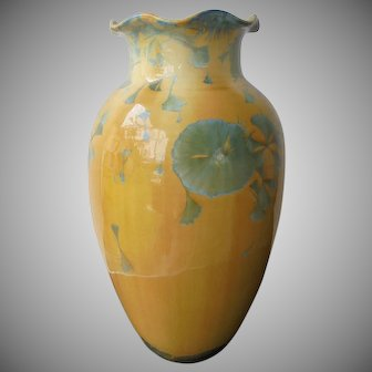 "Glades Pottery Crystalline Glaze Walter Kingsley Vase 11 1/4"" Tall"