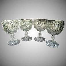 "Set of 4 Antique Jersey Swirl Water Goblets by Windsor Glass 5 3/8"" Tall 1886"