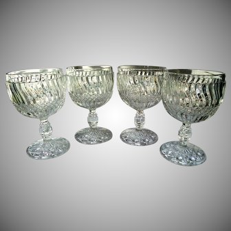 """Set of 4 Antique Jersey Swirl Water Goblets by Windsor Glass 5 3/8"""" Tall 1886"""