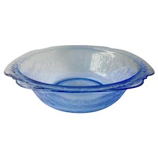 "Federal Glass Madrid Blue Vegetable Bowl 10"" Wide"