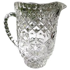 Vintage 1940's Full Crystal Pitcher 32 oz. Diamond Band & Stars Pattern