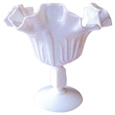 Fenton Small Milk Glass Cactus Pattern Footed Ruffle Compote c 1960