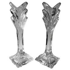 "Set of 2 Bohemia Crystal Pattern #BOC132 Candlestick Holders 9 3/8"" Tall"