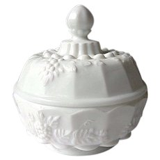 Westmoreland Paneled Grape Milk Glass Powder Box by Fenton
