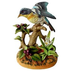 Royal Crown Beautiful Hand Painted Blue Bird Figurine Signed