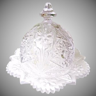 Imperial Glass Cosmos Pattern Butter Dish & Cover c1950's