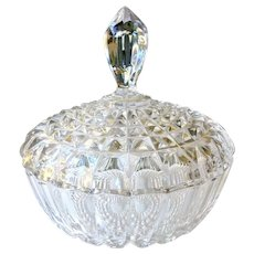 """Full Crystal High Quality Lidded Bowl 7"""" Wide"""