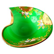 Bohemian Enameled Hand Painted Green Glass Bowl c 1920's