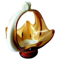 Art Glass Applied Milk Glass & Amber Hand Made Centerpiece Bowl Basket