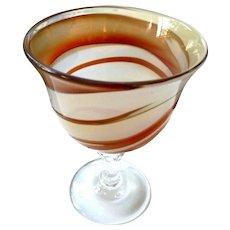 """Original Blown Art Glass Swirl Brown and Beige Glass 8"""" Flower Vase"""