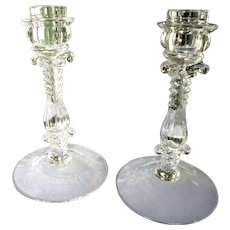 """Set of 2 Cambridge #312 Pattern 7 1/2"""" Tall Crystal Candlestick Holders"""