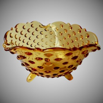 Vintage L.E.Smith Hobnail Pattern Amber 3 Footed Bowl c 1960