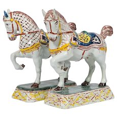 Pair of Dutch Delft Horses  Polychrome Painted Made Mid-19th Century