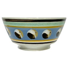 Mochaware Bowl With Cat's Eye Decoration England circa 1820