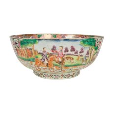 Antique Chinese Porcelain Hunt Bowl