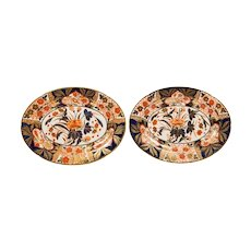 Pair Antique Imari Inspired Porcelain Platters Hand-Painted by Coalport