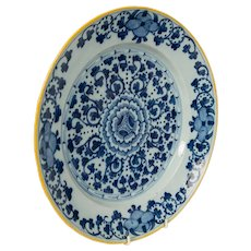 Blue and White Delft Charger with Yellow Edge