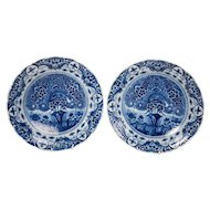 Blue and White Delft Chargers Theeboom Pattern