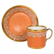 Antique Orange Cup and Saucer with Greek Key Gilt Design